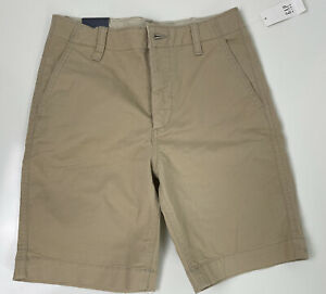 New W/Tags Gap Kids Khaki Flat Front Shorts Boy's Size 12 Adjustable Waist