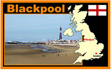 BLACKPOOL, UK, KARTE & FLAGGE - SOUVENIR NEUHEIT KÜHLSCHRANK-MAGNET