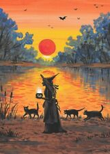 ACEO PRINT OF PAINTING RYTA WITCH BLACK CAT AUTUMN LANDSCAPE HALLOWEEN SUNSET