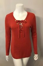 NWT Peck & Peck Orange Ribbed Lace Up Sweater Size M