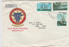 Stamps Cocos Island group on cover Hutt River Province to Sale, Cinderella back