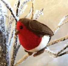 Hanging Christmas Robin Tree Decoration Felt Bird Gift Chubby Red Breast Vintage