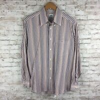 Lacoste Mens Size 40 Purple Red White Striped Long Sleeve Button Down Shirt