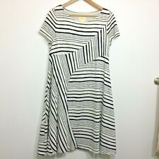 Maeve Anthropologie Womens S Dress A Line Striped White and Blue A037