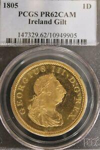 Ireland 1805 Gilt Penny Proof PR62 CAM PCGS Rare! b1L18