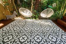 200 x 270cm Lisboa Grey/White Outdoor/Indoor Plastic Rug/Mat Waterproof