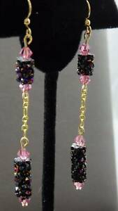 Astral Pink & Black Austrian Crystal Double Dangle Gold Chain Earrings