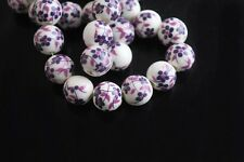 10pcs10mm Round Porcelain Ceramic Loose Spacer Beads Big Hole Deep Purple Flower