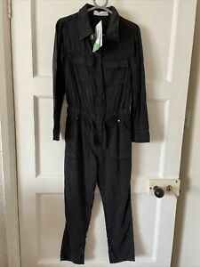 Girls M&S Marks And Spencer Black Tencel Boiler Suit Jump Suit Age 7-8 New
