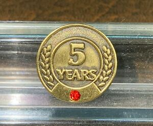 Vintage Tie Tack, Lapel Pin, 5 Year Service Pin, Synthetic Ruby, Bronze Tone