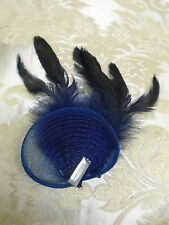 NAVY BLUE FASCINATOR  TULLE / FEATHERS /  CRYSTAL ON PIN AND CLIP WEDDINGS RACE