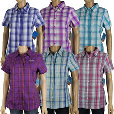 "New Womens Columbia ""Meadowgate"" Plaid Omni-Shade Vented Short Sleeve Shirt"