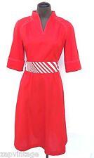 Vtg 1960's Strait Lane Polyester Red (Go Go / Disco) Retro Mod Dress Size 10