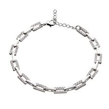 Womens Silver Linked Bracelet with lobster clasp and clear crystals - Navit