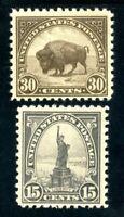 USAstamps Unused VF US 1922 Flat Press Issue Scott 566 MLH, 569 OG MHR