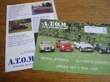 """2 de-A.T.O.M. atom enfant voiture """"sales brochure"""" feuilles 1988 et 1989"""