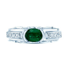 18k White Gold Emerald And Diamond Ring Natural Oval Princess Semi Bezel 1.13TCW