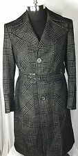 Authentic Giorgio Armani  Men's Wool Blend Black White Belted Coat Size 48