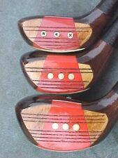 PERSIMMON Powerbilt Golf Clubs Set Refinish Woods Driver 3 4 w New Lamkin Grips