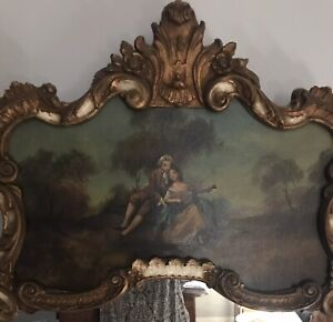 Antique French Trumeau Mirror- Oil Painting. Ornate Gild Wood