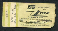 1984 Zz Top Night Ranger Concert Ticket Stub Rapid City Sd Eliminator Tour Legs