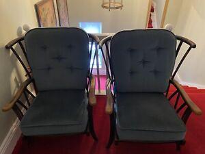 2 X Wooden Framed Armchair