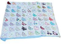 Vintage Hand Sewn Butterfly Blocks Baby Crib Quilt Blanket SALVAGE REPAIR