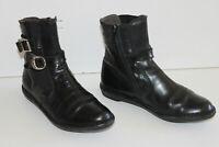 KICKERS  Bottines Boots Cuir Lisse Noir Doublées Cuir T 36 TBE