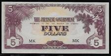 Malaya Japanese Invasion Money 5 Dollars 1940's WWII MK Block