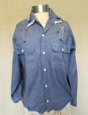 Vintage 70s/80s JC Penneys BIG MAC Cotton Chambray Embroidered Holly Hobbie MED