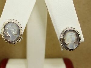 LOVELY NEW VINTAGE STERLING SILVER MOTHER OF PEARL CARVED CAMEO EARRINGS