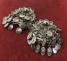 Vintage Earrings Silver Tone Clip On Dangle