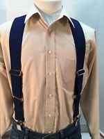 """New, Men's, Navy Blue, XL, 2"""", Adj.  Side Clip Suspenders, Made in the USA"""