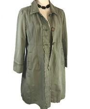 Women's DNKY Jeans Avant-garde Trench Coat Sz XL Olive (runs small fits sz m)