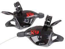 SRAM X9 X.9 X 9 MTB Trigger Shifter Set 2x10 Speed Black/Red W/Clamp New US