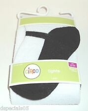 CIRCO Girls Tights WHITE/BLACK Size 2T - 4T New & Carded