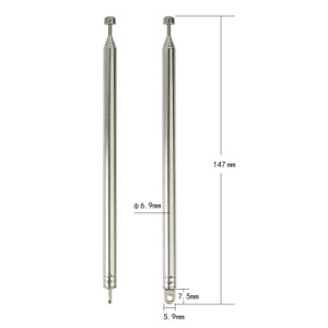 2X Replacement 147mm 7 sections Telescopic Antenna Radio FM Aerial Flat milling