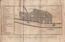 1805 ANTIQUE LONDON MAP - SIR JOHN EVELYN'S PLAN FOR REBUILDING THE CITY OF LOND