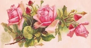 Checkbook Cover Pink Roses Bouquet Vintage Image