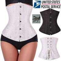 Womens Vintage Underbust Waist Training Corset Top Bustiers Lace Up Shapewear DH