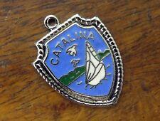 Vintage silver CALIFORNIA STATE CATALINA SAILBOAT ENAMEL TRAVEL SHIELD charm #E2