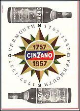 PUBBLICITA' 1957 VERMOUTH CINZANO 200 ANNI 1757-1857 ROSA DEI VENTI NICO EDEL