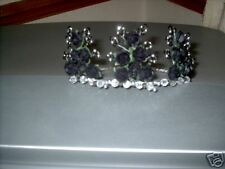 NEW BLACK ROSE WITH BLACK CRYSTALS /SILVER PEARL TIARA