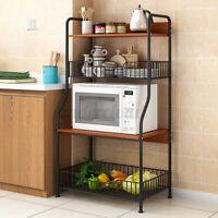 3/4 Tier Kitchen Storage Rack Home Microwave Oven Organizer Shelf Holder Stand