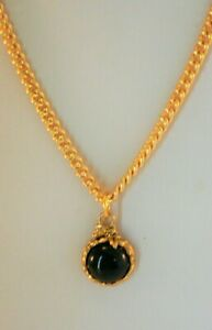 "Liz Claiborne gold tone round black rhinestone pendant necklace 17"""