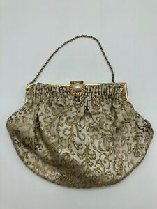 Vintage French Gold & Silver Embroidered Evening Clutch Bag Handbag Purse