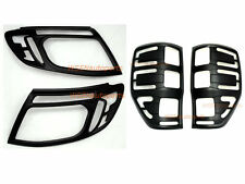 Matte Black Headlight & Tail Light Lamp Cover Ford Ranger PX Wildtrak 2012- 2015