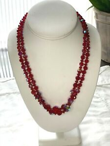Multi-strand Red Iridescent faceted Crystal Collar Necklace