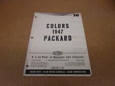 1947 47 Packard paint color chip chart sheet sample Dupont formulas