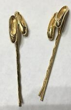 Vintage Ballet Slippers hair jewelry Gold Tone hair pins gold tone bobby pins